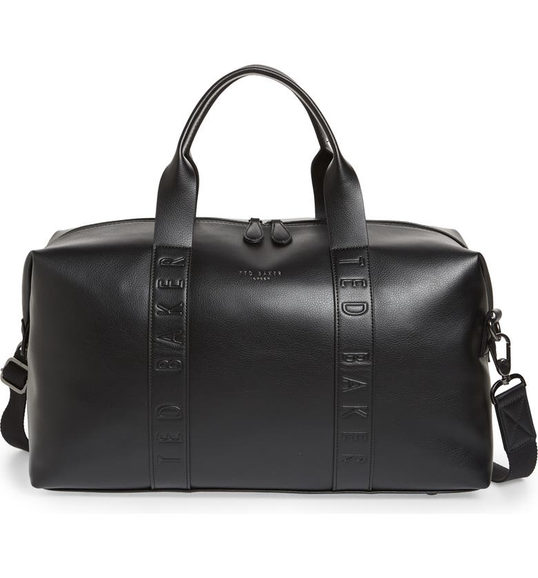 TED BAKER LONDON Debossed Faux Leather Duffle Bag, Main, color, 001