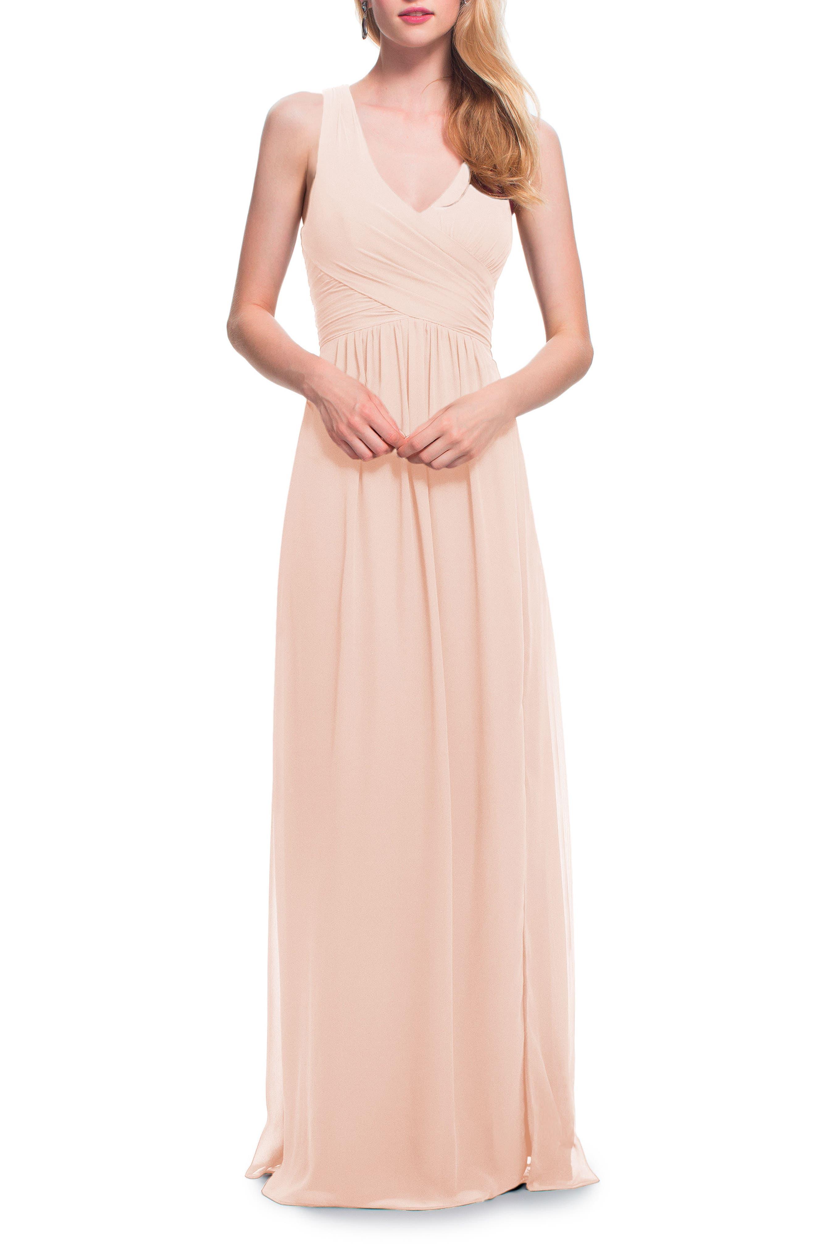#levkoff Back Cutout Chiffon Gown, Pink