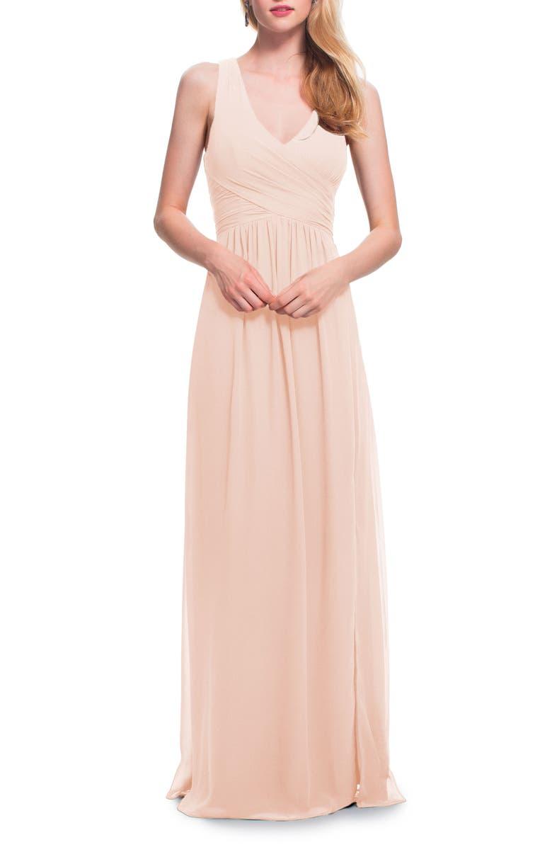 #LEVKOFF Back Cutout Chiffon Gown, Main, color, PETAL PINK