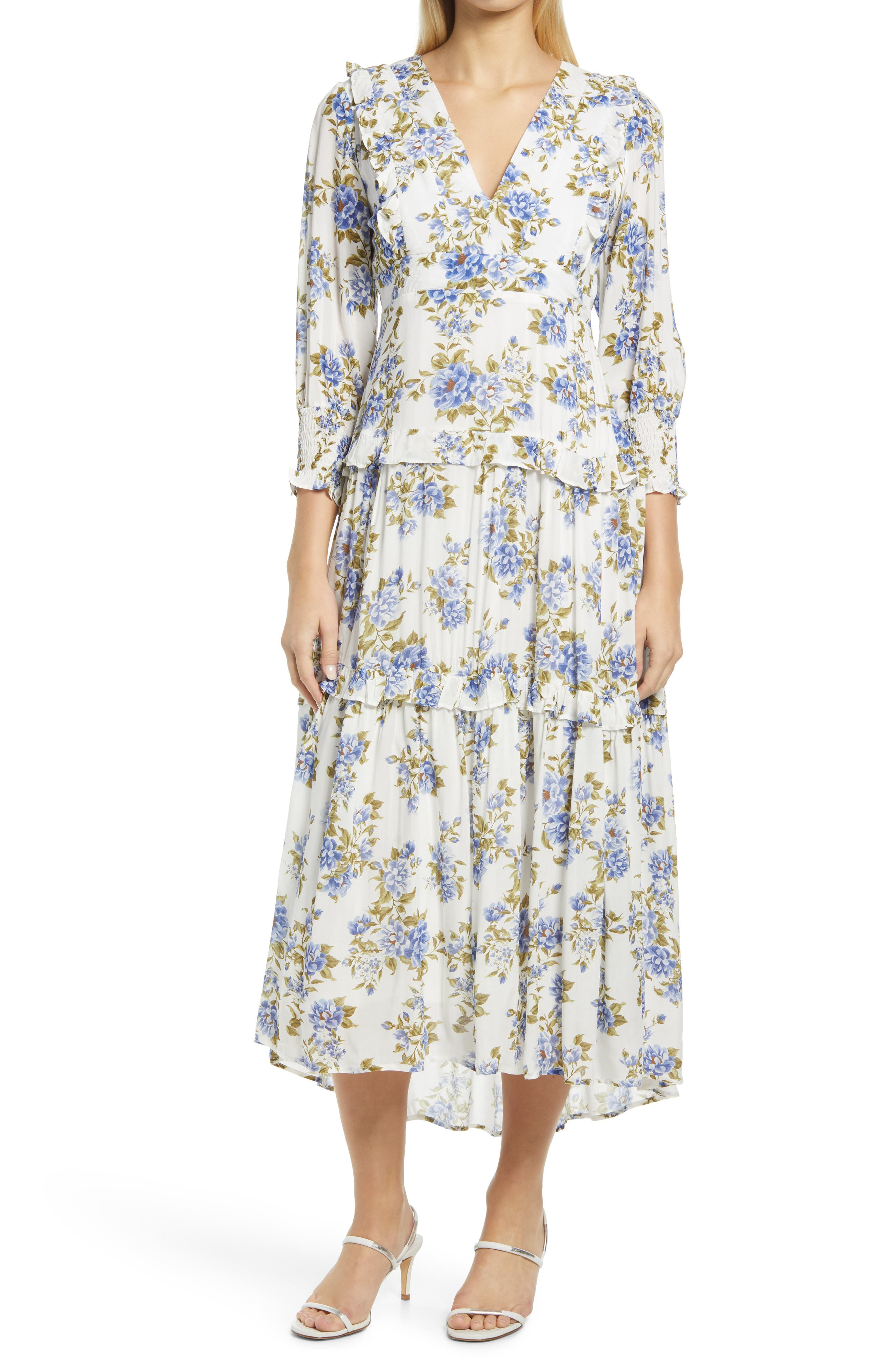 Floral Tiered High-Low Three-Quarter Sleeve Dress