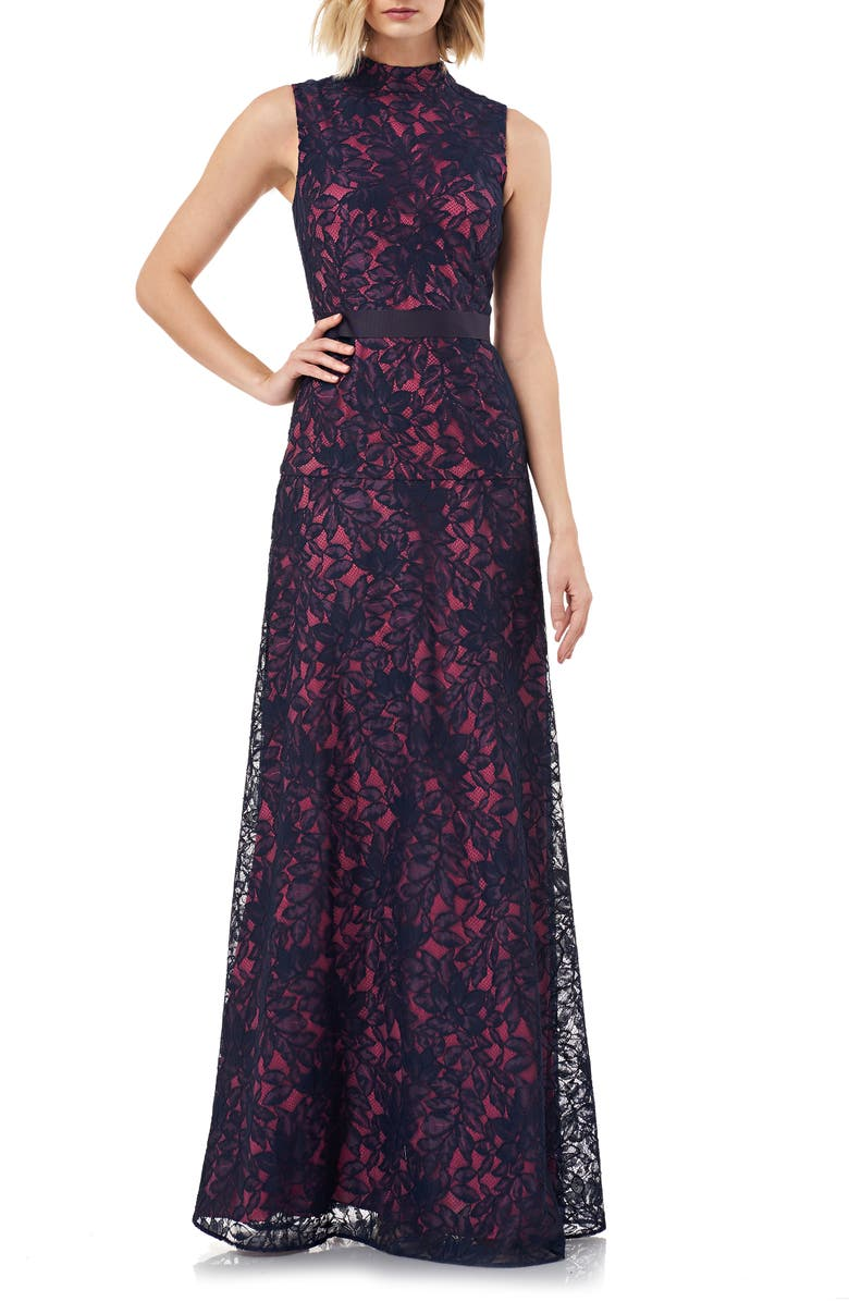 KAY UNGER Floral Lace Mock Neck Fit & Flare Evening Gown, Main, color, NAVY/ MAGENTA