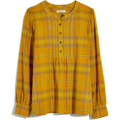 Madewell Flannel Leysfield Popover Shirt, Yellow
