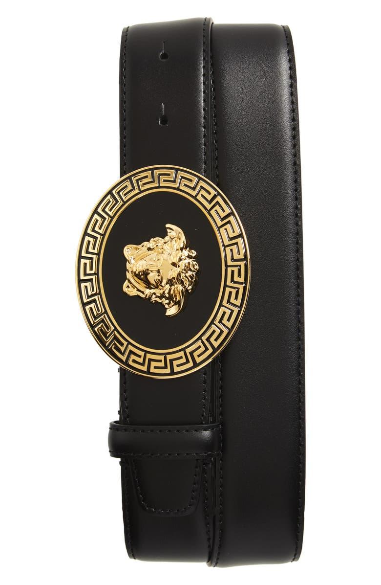 VERSACE Oval Medusa Leather Belt, Main, color, D41OH BLACK/GOLD