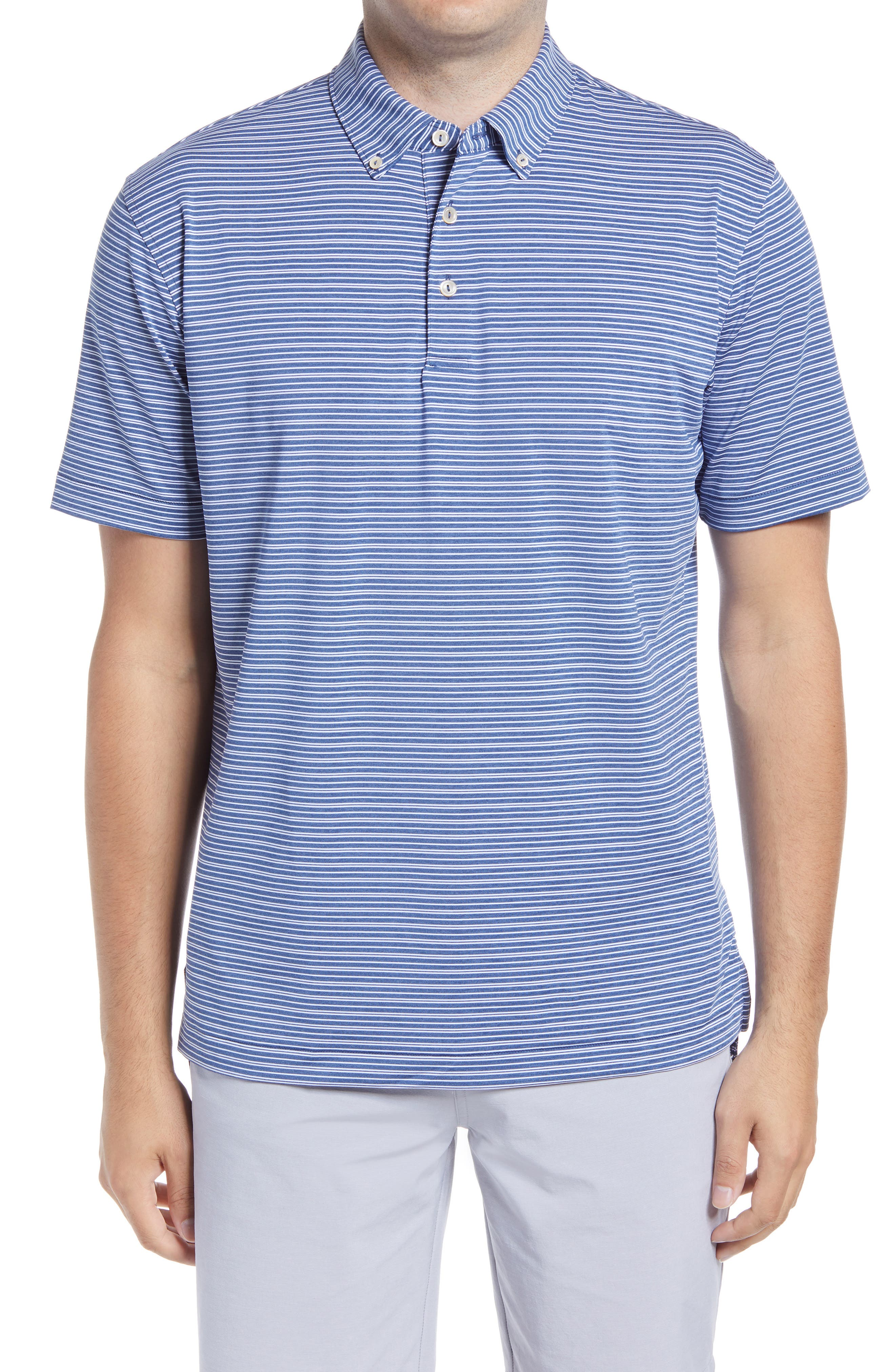 Stretchy, moisture-wicking fabric keeps up with you all day in a comfortable button-down polo that offers added sun protection and helps keep odors at bay. Style Name: Peter Millar Georgetown Stripe Button-Down Performance Polo. Style Number: 6089528. Available in stores.