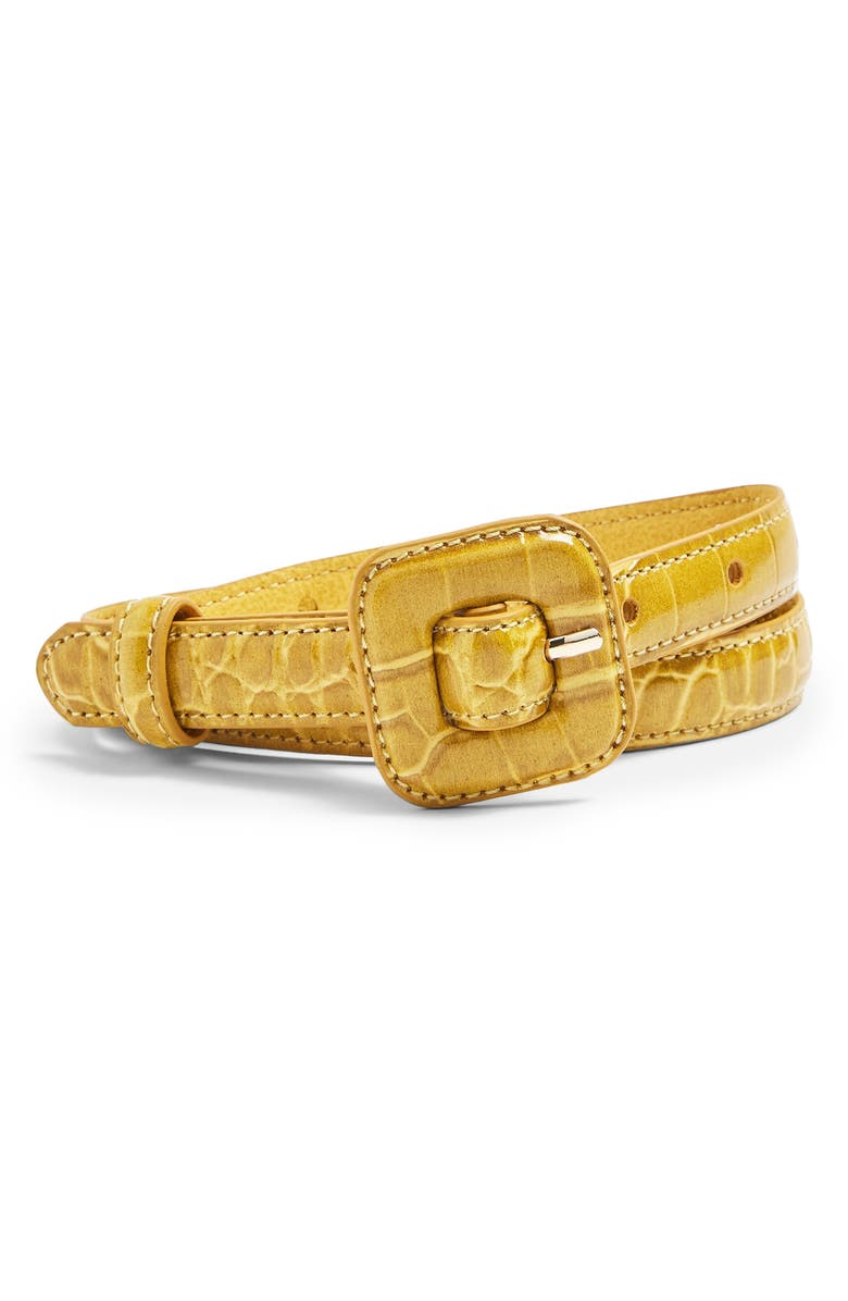 TOPSHOP Croc Embossed Faux Leather Belt, Main, color, YELLOW
