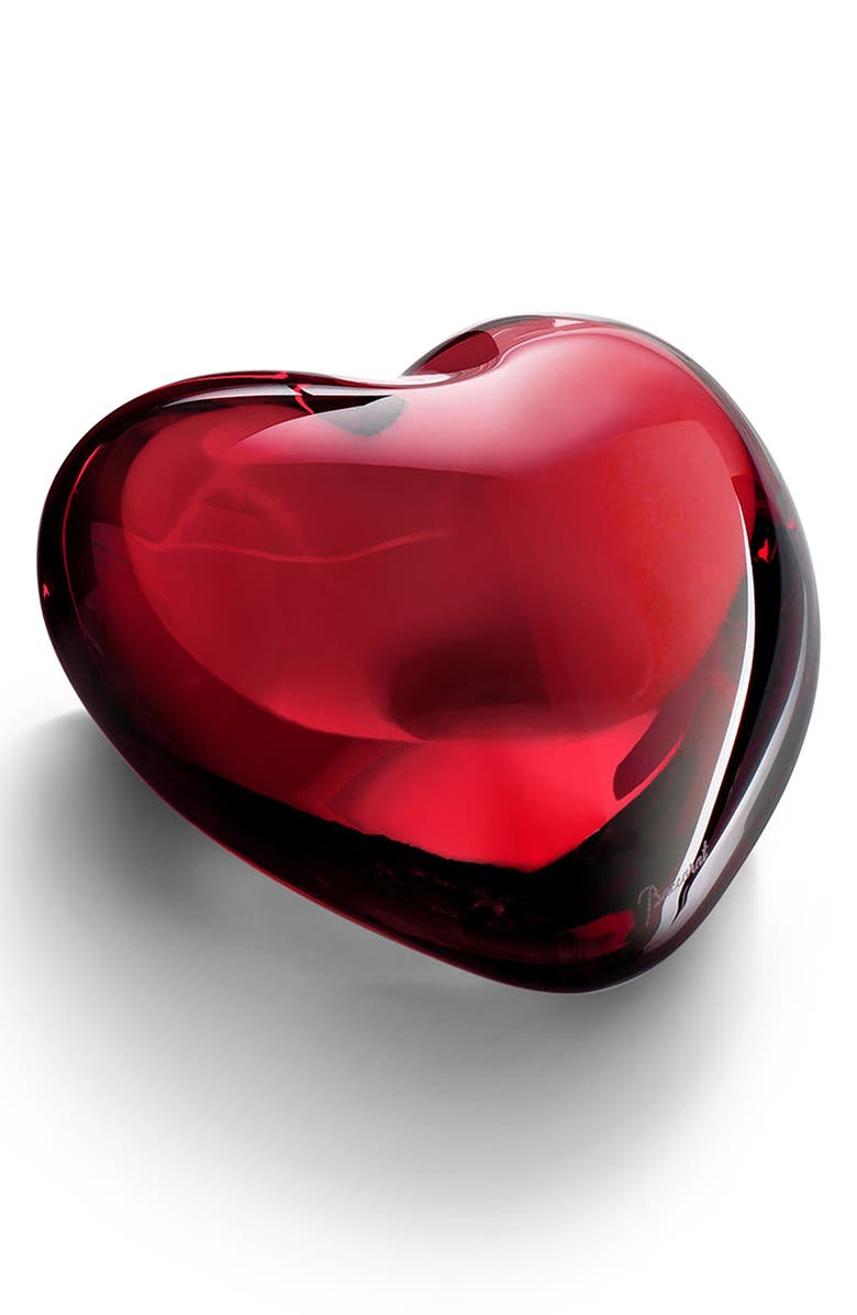BACCARAT Puffed Lead Crystal Heart, Main, color, RED