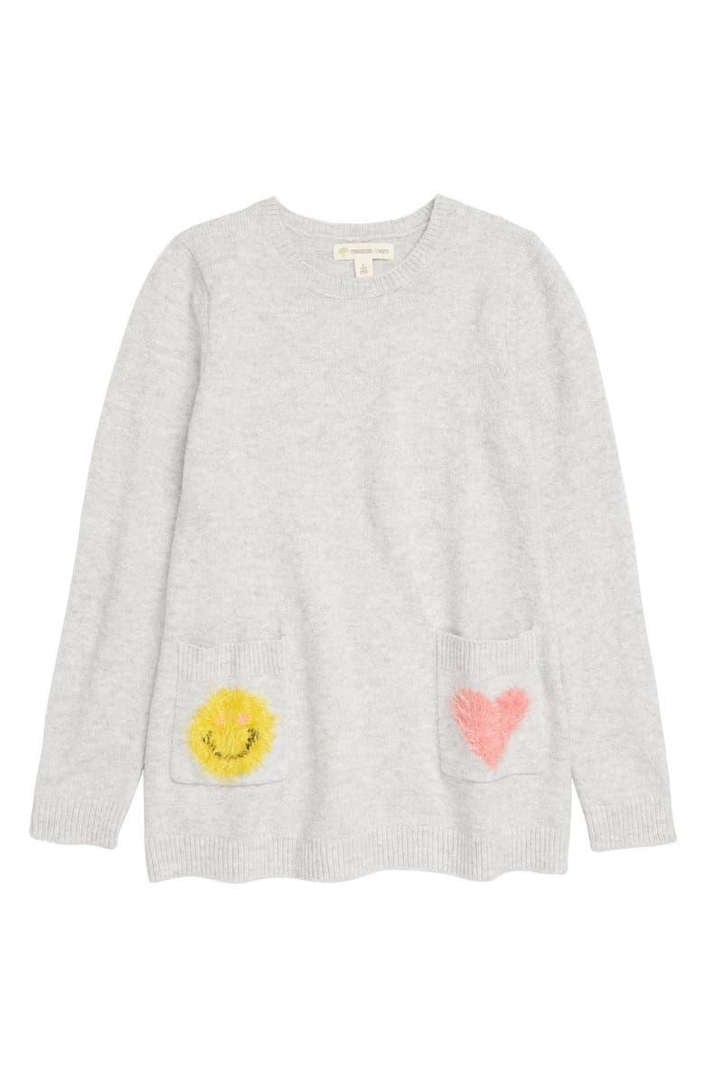 TUCKER + TATE Kids' Fun Times Tunic Sweater, Main, color, GREY LIGHT HEATHER SMILEY