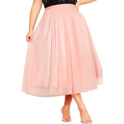 Plus Size City Chic Tulle Midi Skirt, Pink