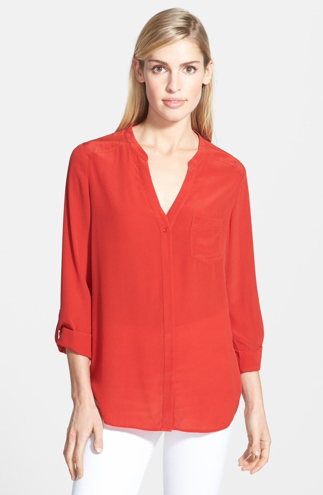 ,                             Collarless Silk Blouse,                             Main thumbnail 73, color,                             612