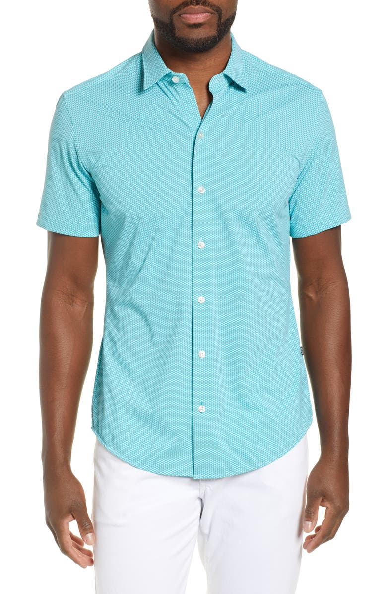 BOSS Robb Sharp Fit Geo Print Shirt, Main, color, TEAL