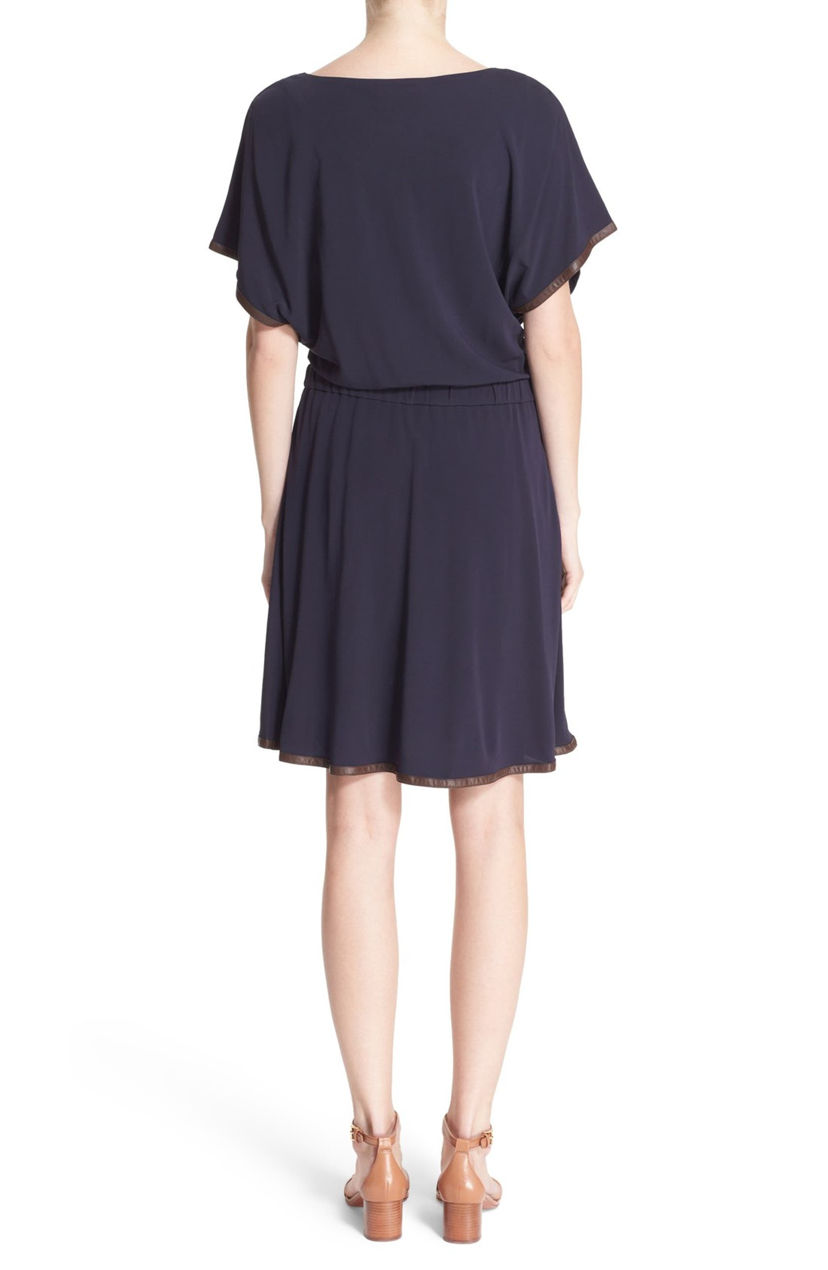 2dd1ebccc048 Tory Burch 'Shia' Faux Leather Trim Blouson Dress | Nordstrom