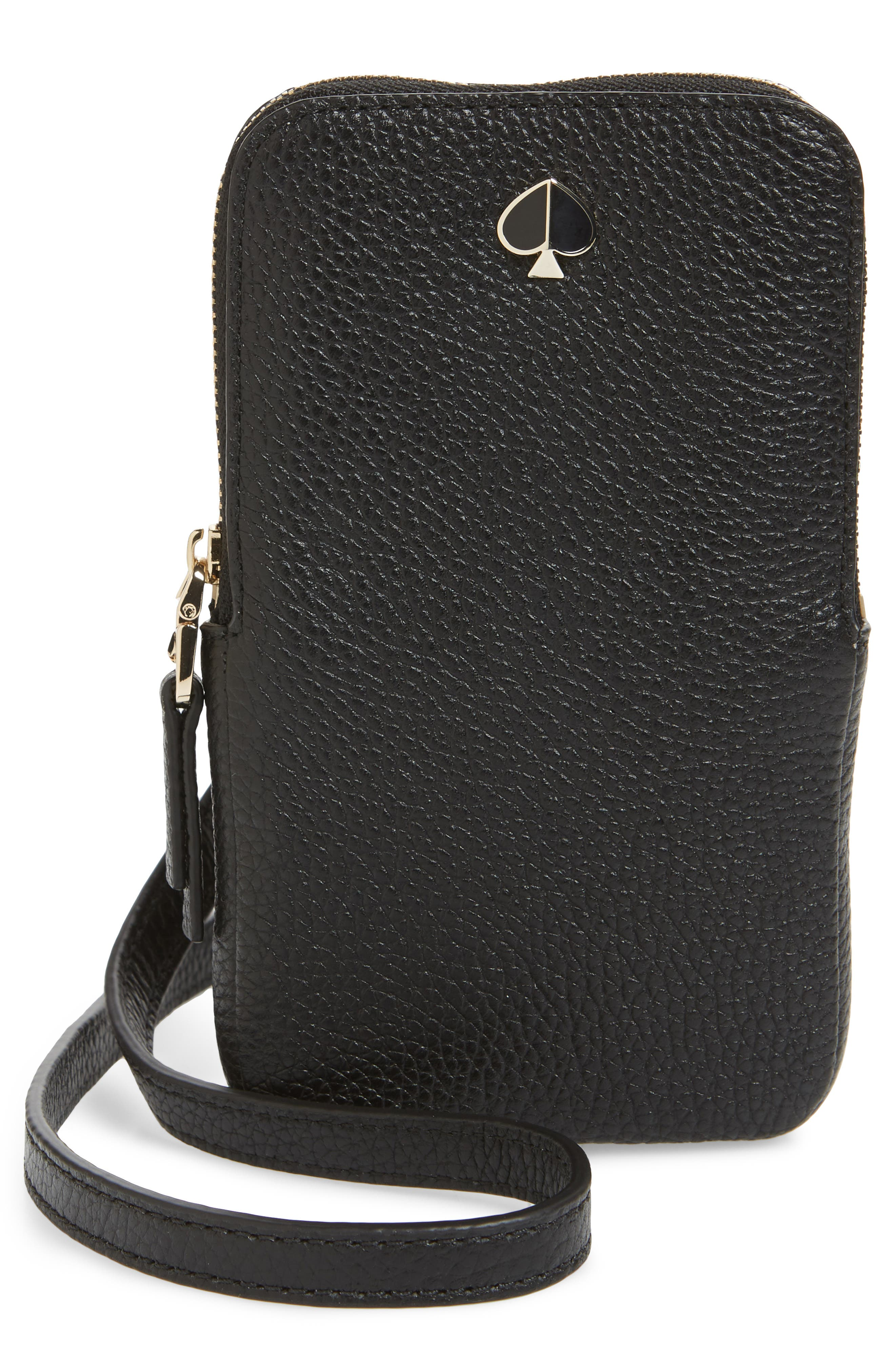 polly leather phone crossbody bag, Main, color, BLACK