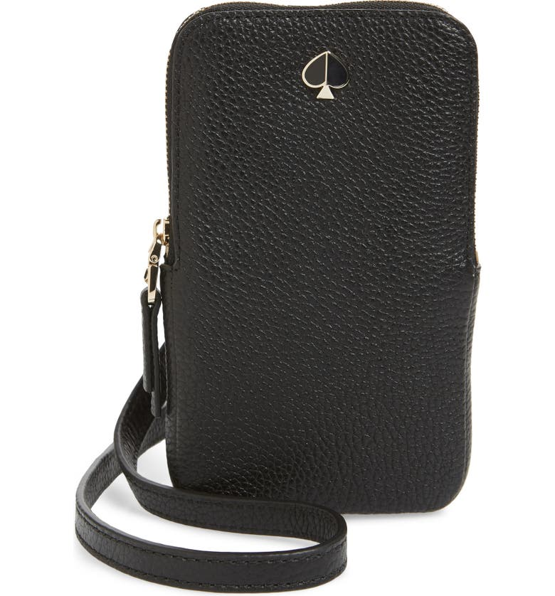 KATE SPADE NEW YORK polly leather phone crossbody bag, Main, color, BLACK
