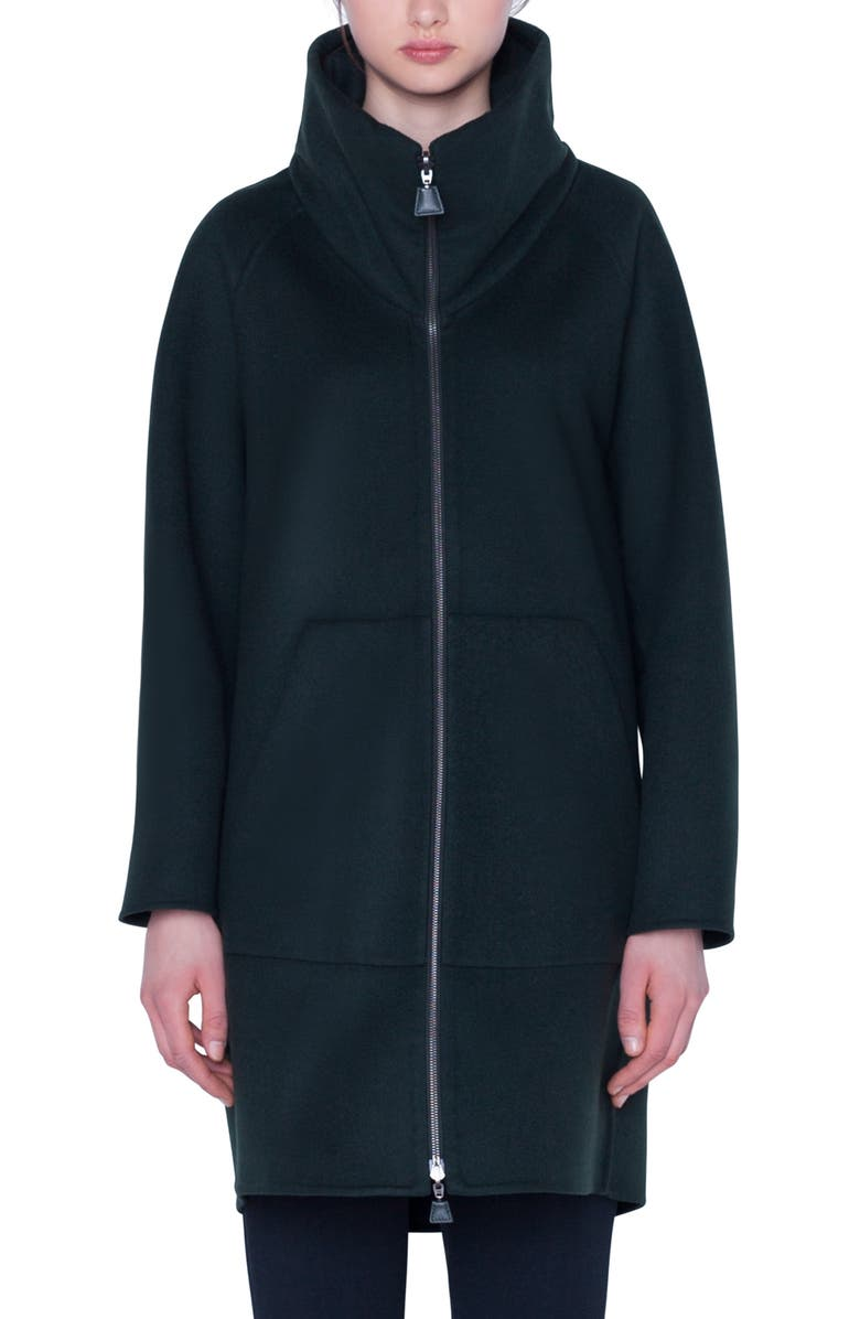 AKRIS Stowaway Hood Double Face Cashmere Coat, Main, color, PINE