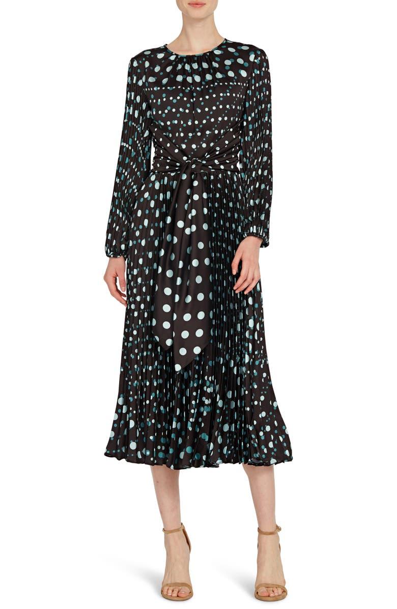 ML MONIQUE LHUILLIER Long Sleeve Polka Dot Midi Dress, Main, color, 001
