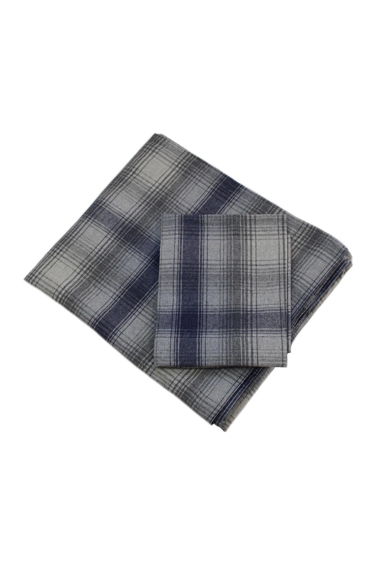 Image of Belle Epoque Flannel Sheet Set Blue Plaid - Twin
