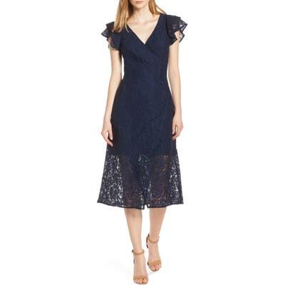 Ali & Jay Ruffle Sleeve Wrap Lace Midi Dress