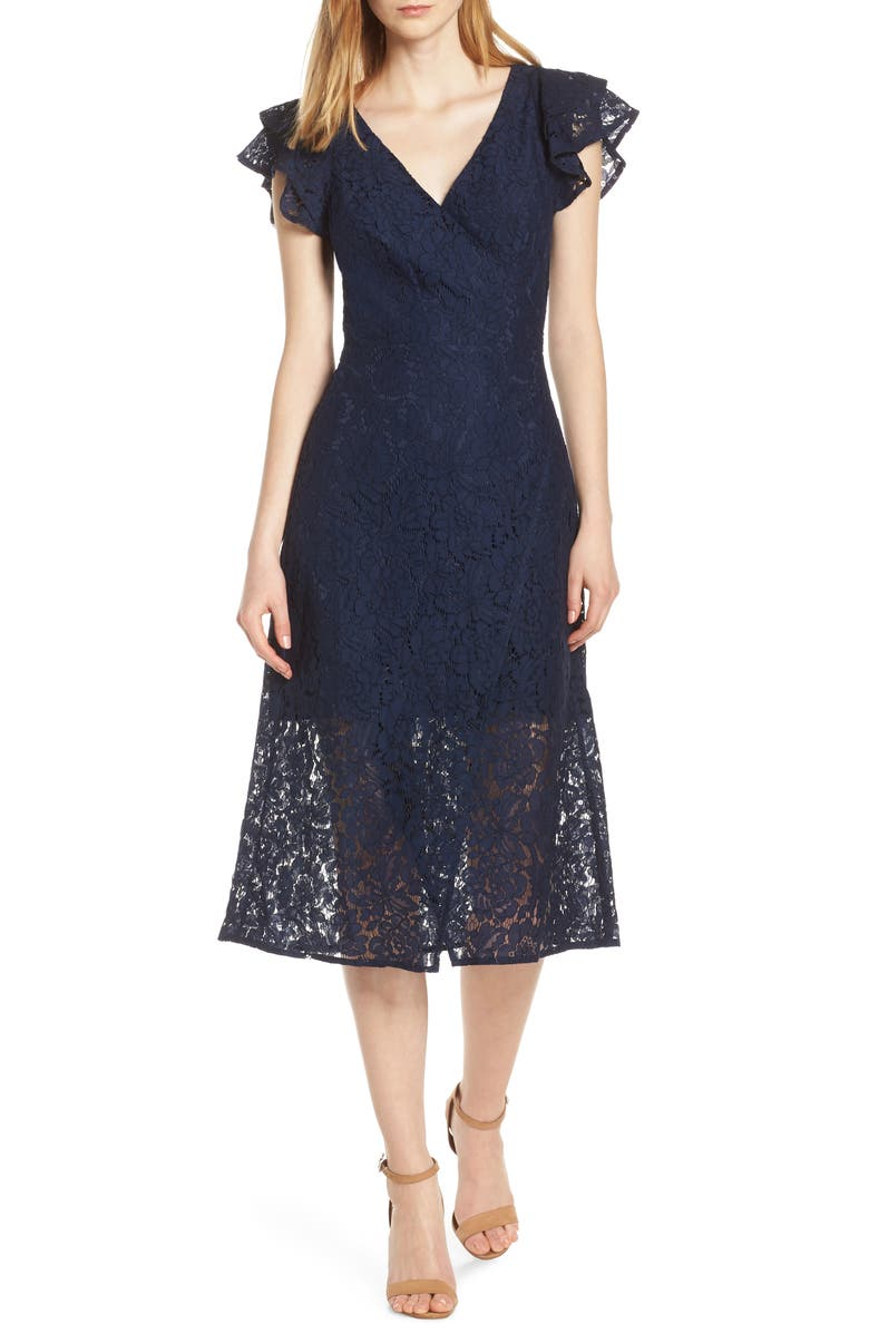 ALI & JAY Ruffle Sleeve Wrap Lace Midi Dress, Main, color, NAVY