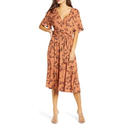 All In Favor Floral Wrap Front Midi Dress, Orange