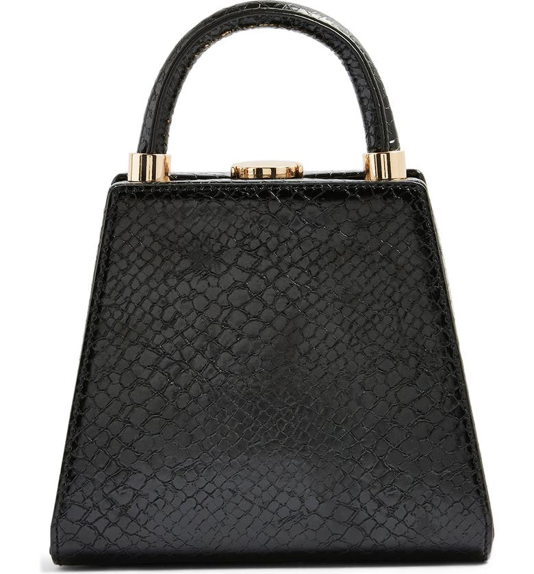 TOPSHOP Amal Faux Leather Handbag, Main, color, BLACK