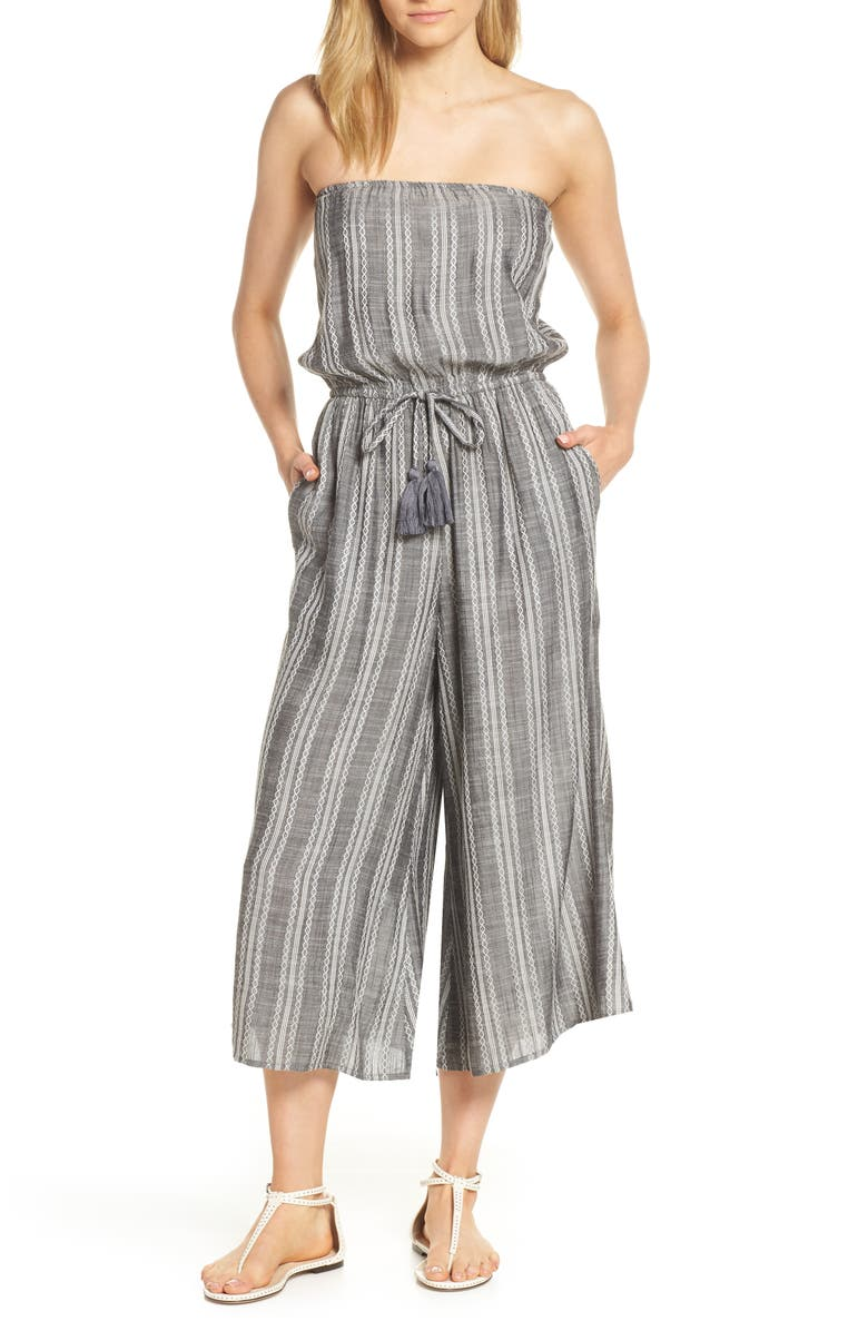 ELAN Strapless Cover-Up Culotte Jumpsuit, Main, color, GREY STRIPE