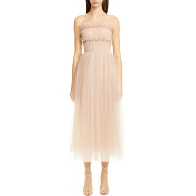 Jason Wu Strapless Ruched Tulle Midi Cocktail Dress, Pink