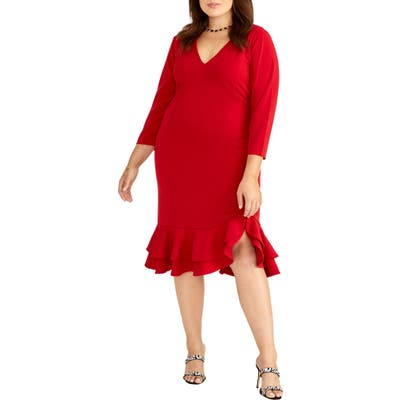 Plus Size Rachel Rachel Roy Elle Ruffle Hem Dress, Red