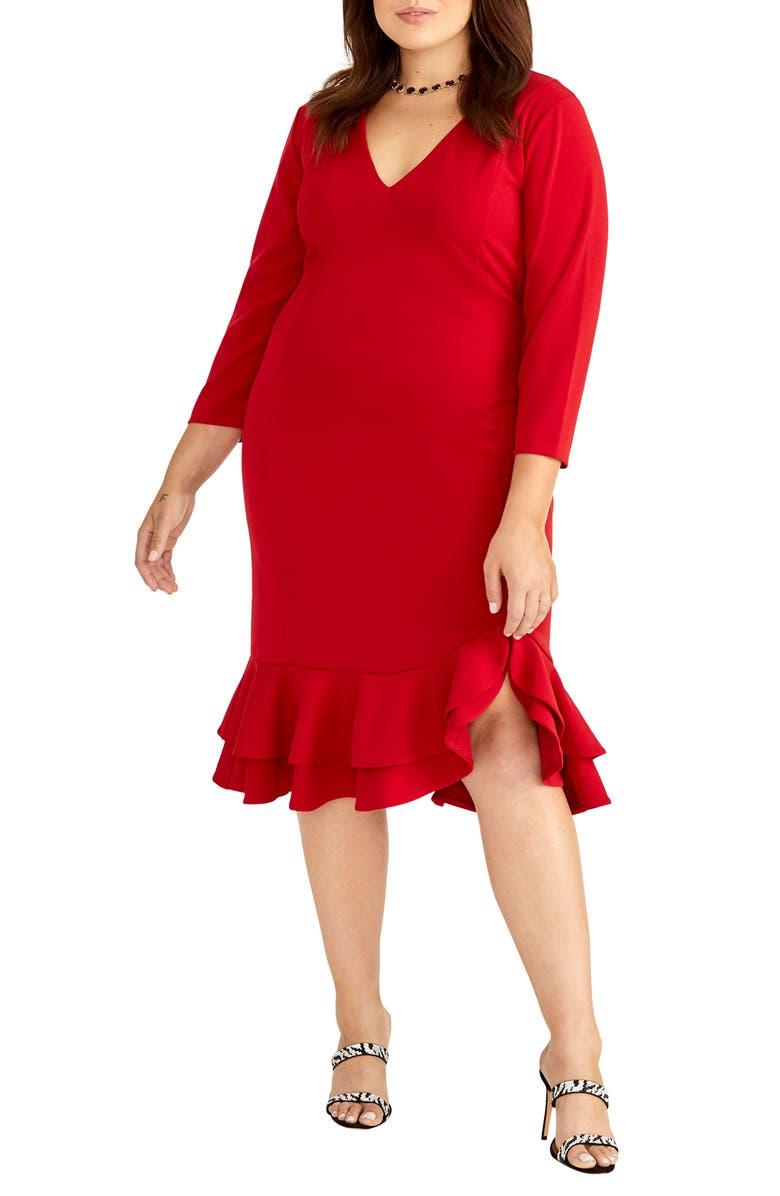 RACHEL RACHEL ROY Elle Ruffle Hem Dress, Main, color, 600