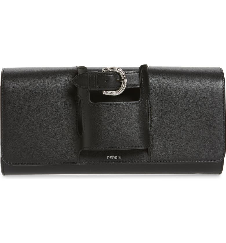 PERRIN La Parisienne Leather Clutch, Main, color, BLACK/ STRASS