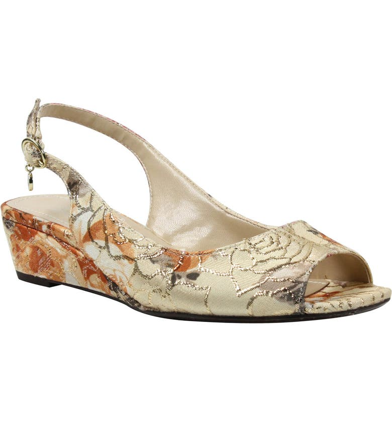 J. RENEÉ Alivia Slingback Sandal, Main, color, NUDE MULTI/ GOLD FABRIC