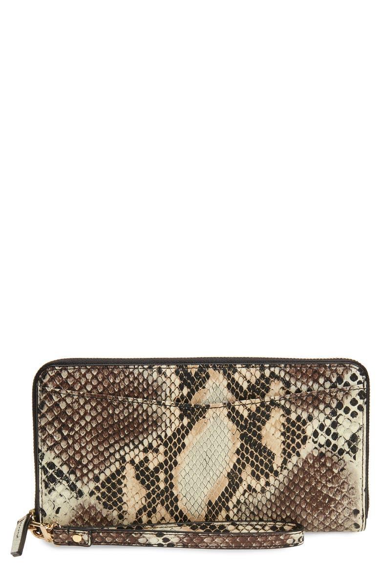 NORDSTROM Snakeskin Print Leather Continental Wallet, Main, color, IVORY ANTIQUE SNAKE