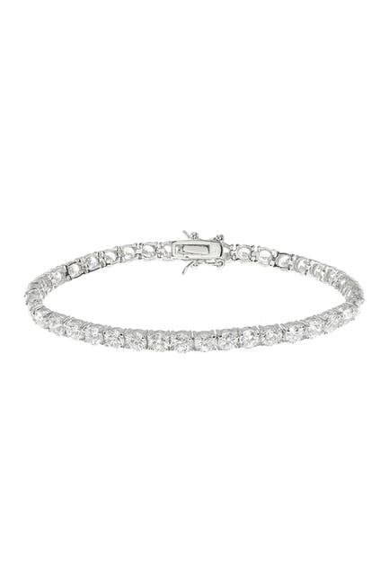 Image of CZ By Kenneth Jay Lane Rhodium Plated Round CZ Tennis Bracelet