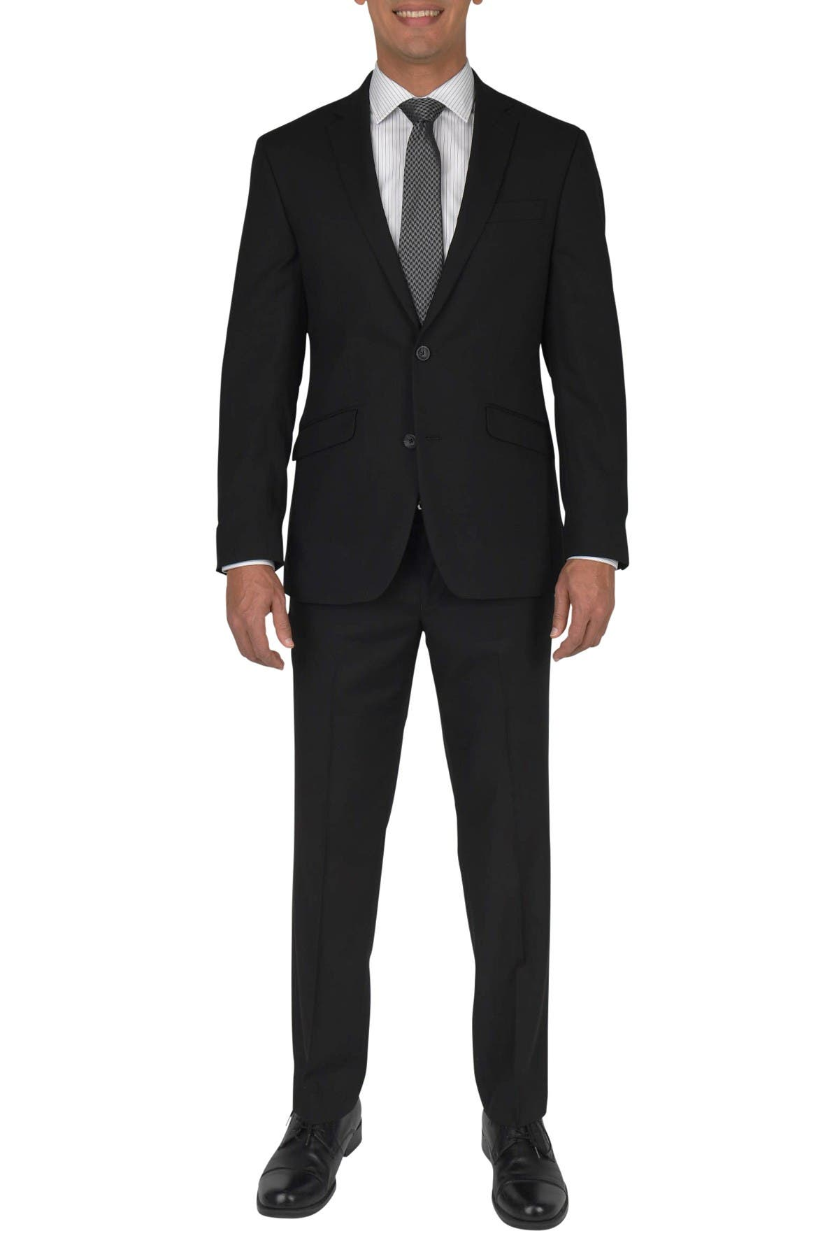 Image of Kenneth Cole Reaction Black Woven Two Button Notch Lapel Slim Fit Suit