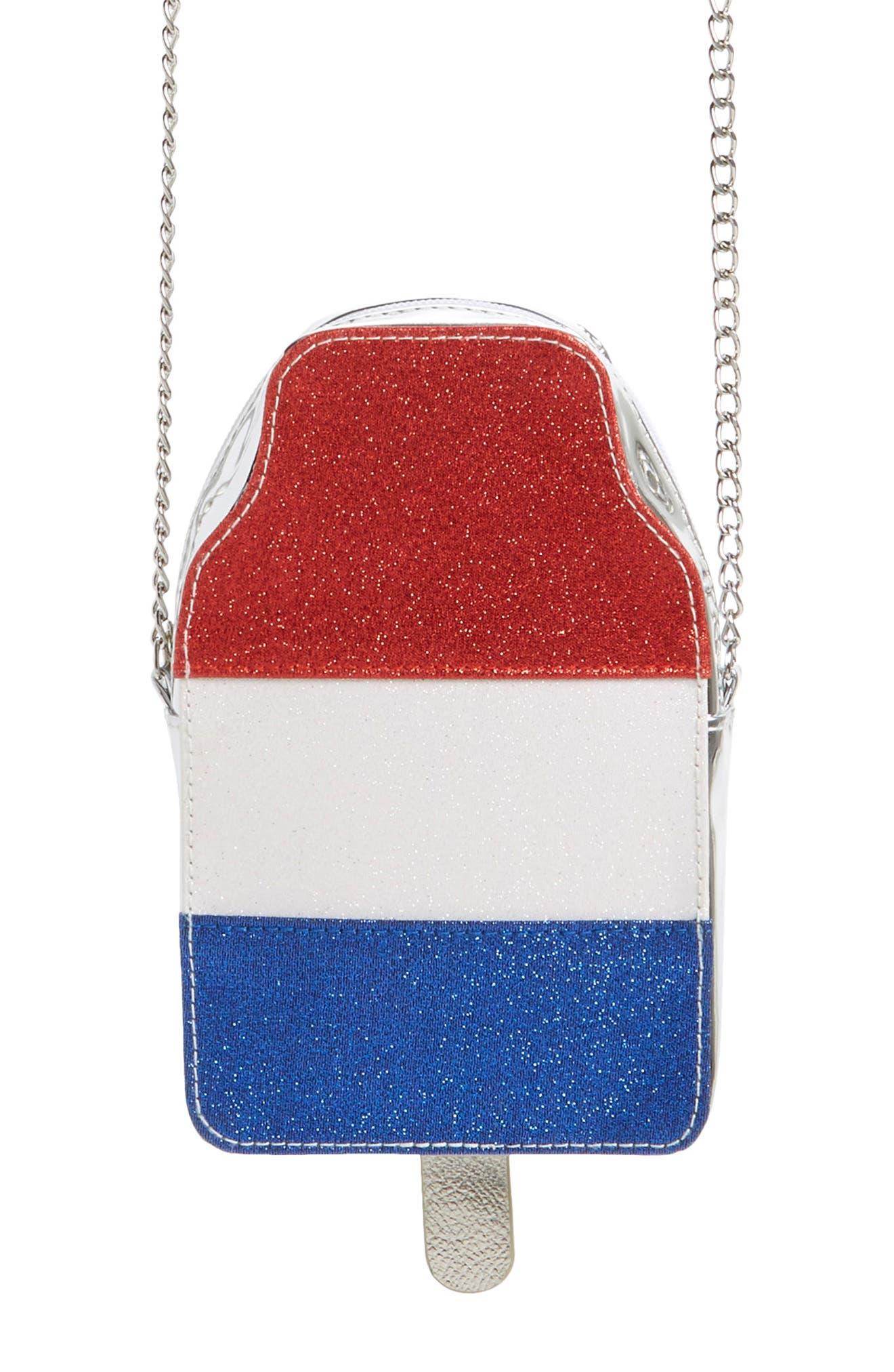 Girls Capelli New York Patriotic Stripe Ice Pop Crossbody Bag  Metallic