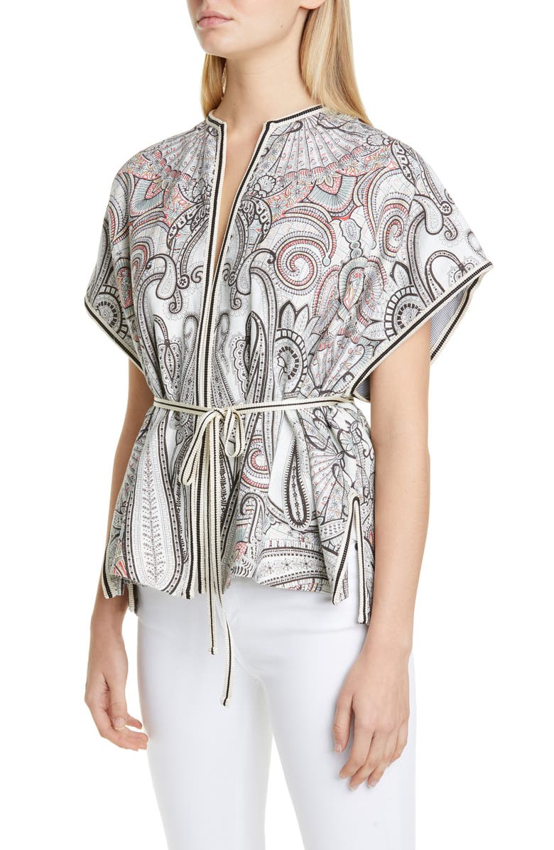 ETRO Belted Reversible Cap Sleeve Jacket, Main, color, WHITE