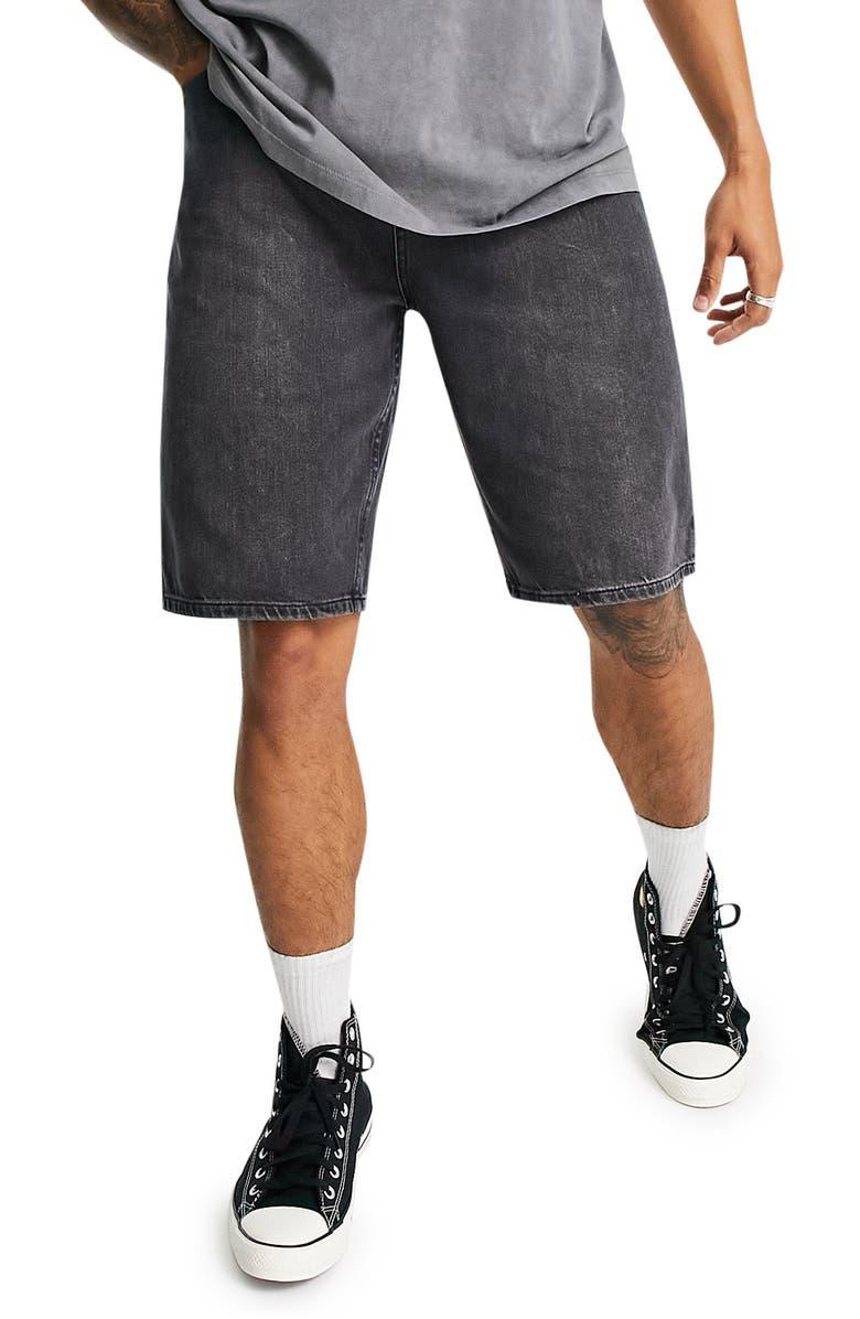 TOPMAN Skater Denim Shorts, Main, color, BLACK