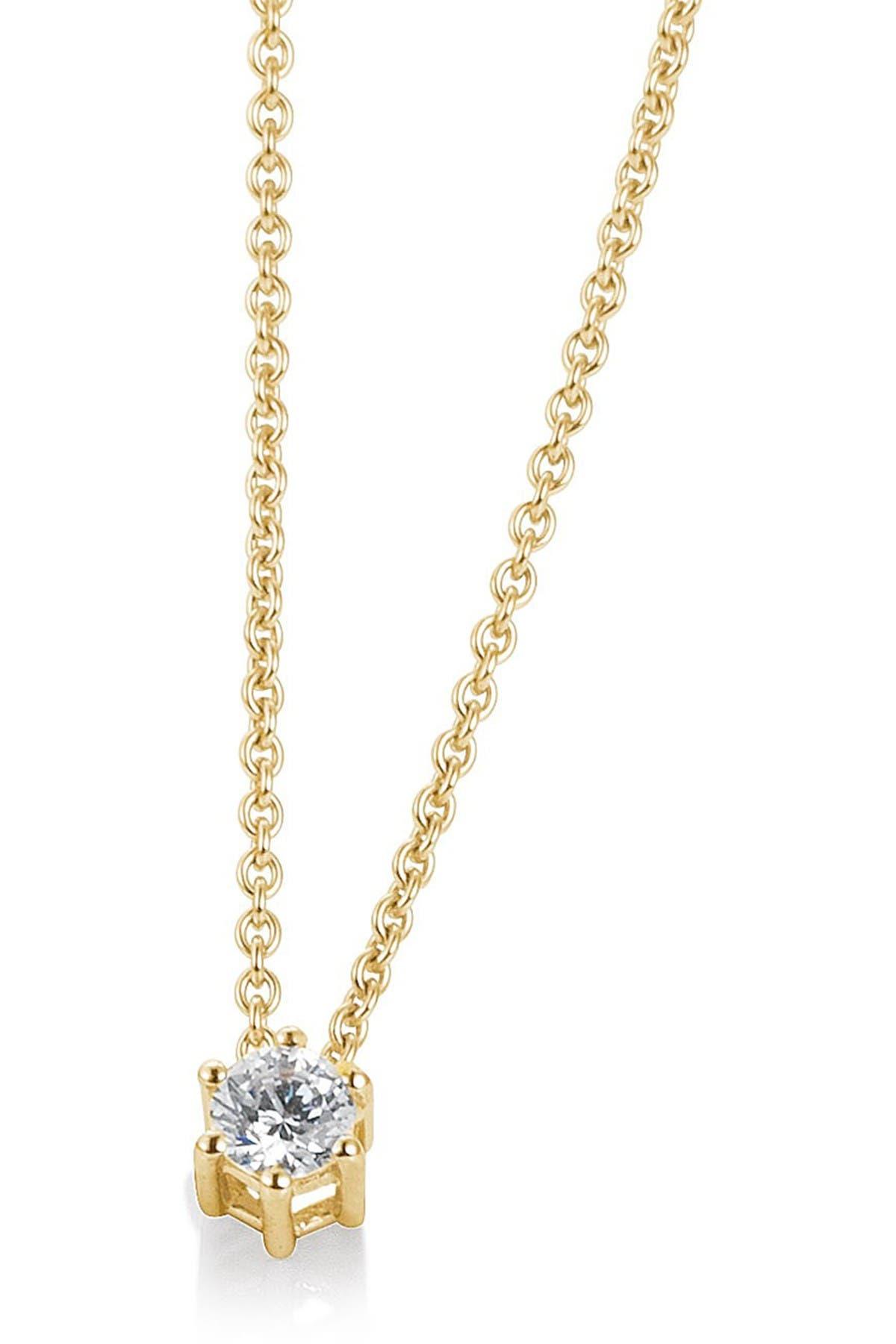 BREUNING 14K Gold Diamond Solitaire Pendant Necklace - 0.10 ctw