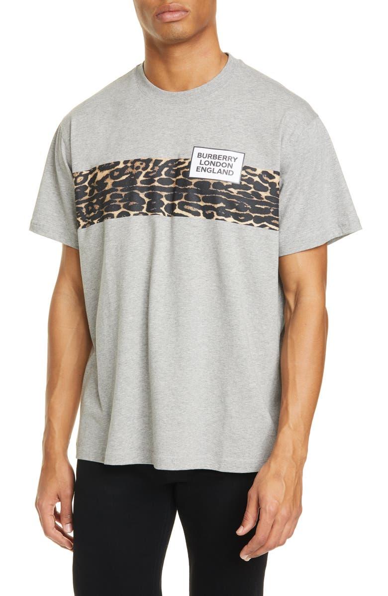 BURBERRY Kempster Leopard Stripe Logo Graphic Tee, Main, color, PALE GREY MELANGE