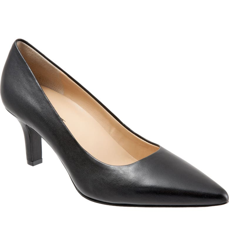 TROTTERS Noelle Pointy Toe Pump, Main, color, BLACK LEATHER