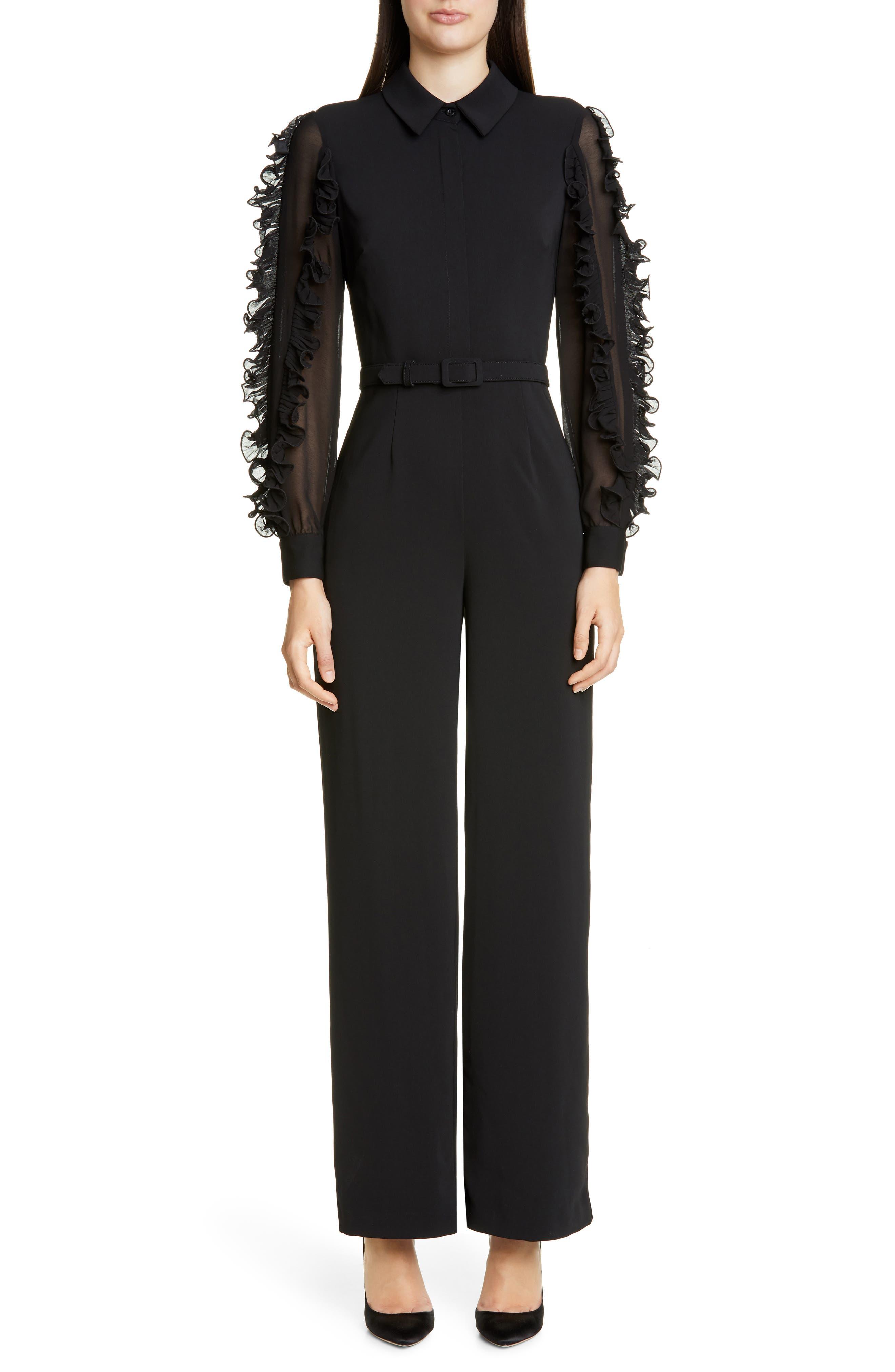 Badgley Mischka Ruffle Long Sleeve Jumpsuit, Black