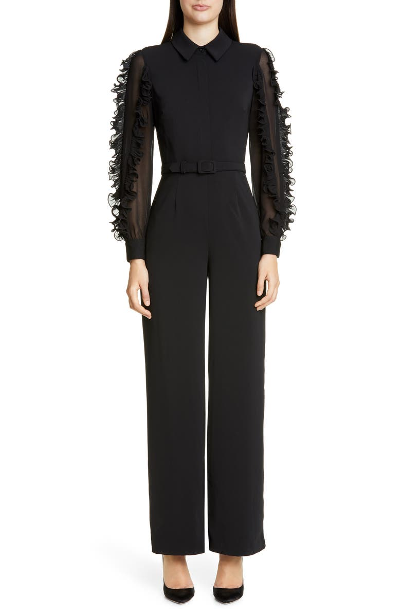 BADGLEY MISCHKA COLLECTION Badgley Mischka Ruffle Long Sleeve Jumpsuit, Main, color, BLACK