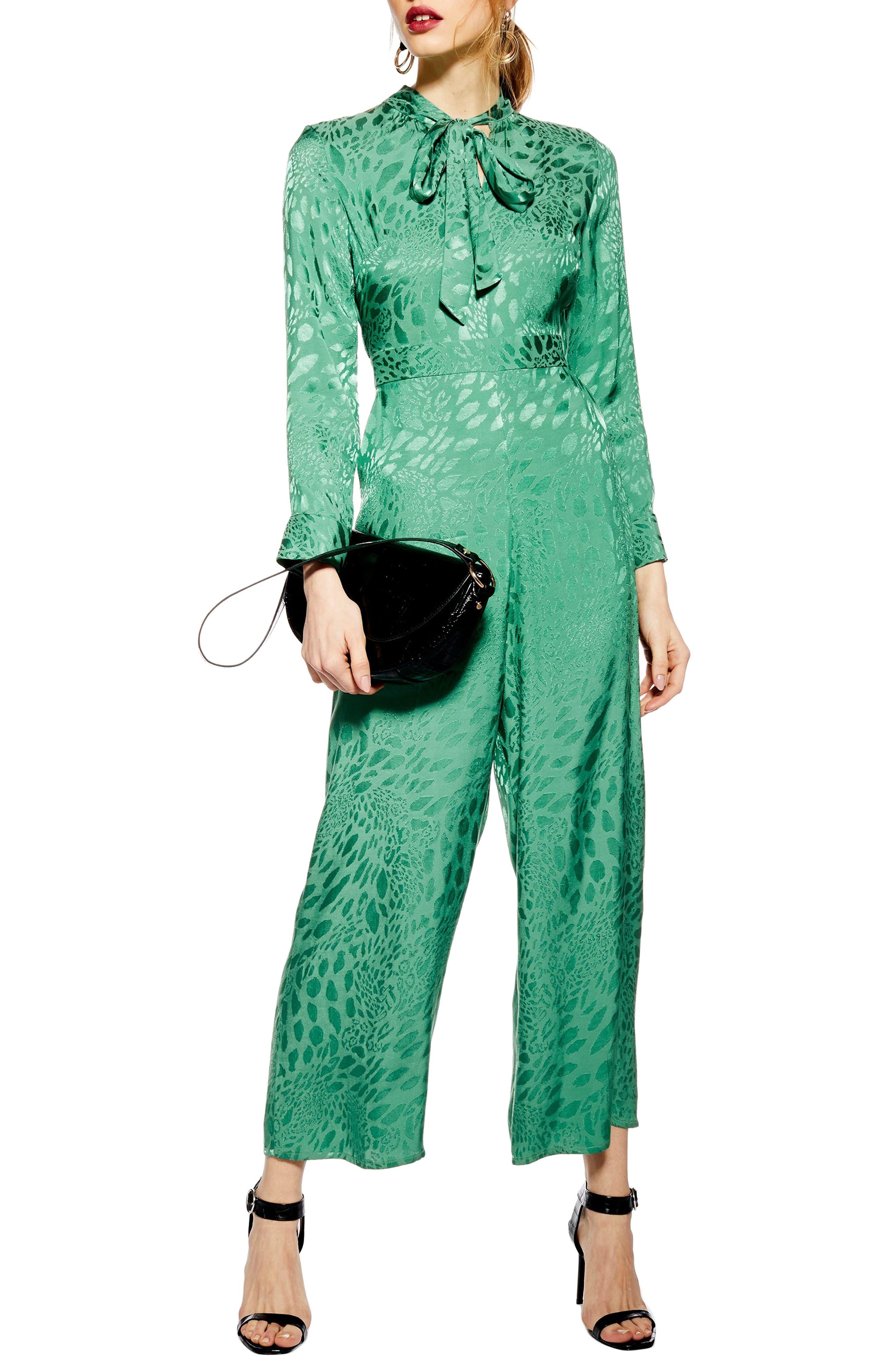 Tie Neck Jacquard Crop Jumpsuit, Main, color, GREEN