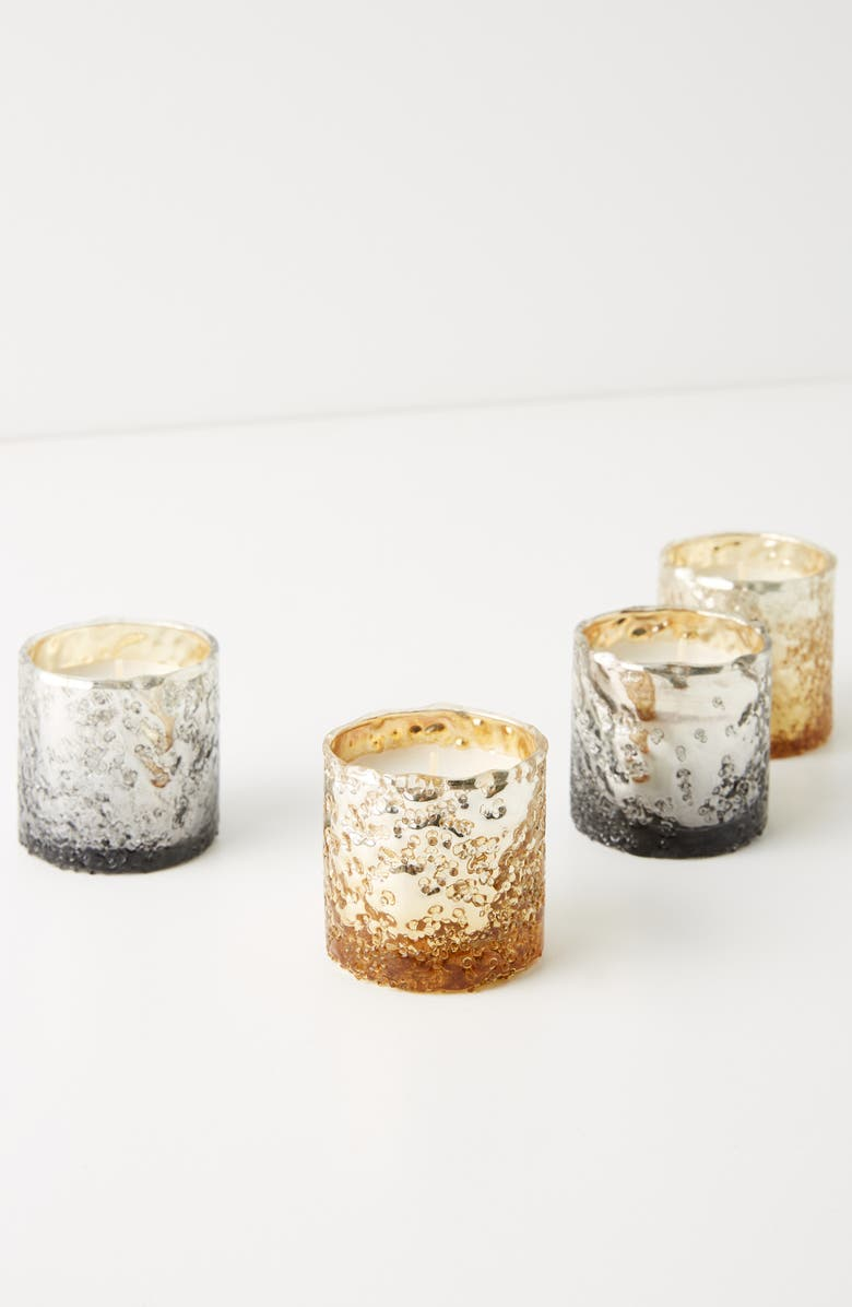 ANTHROPOLOGIE HOME Mercury Textured Metallic Votive Candle Set, Main, color, 040