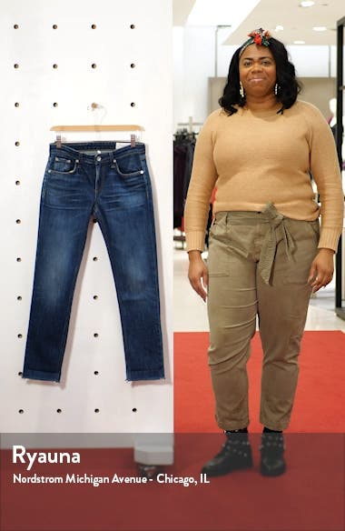 Dre Raw Hem Slim Boyfriend Jeans, sales video thumbnail