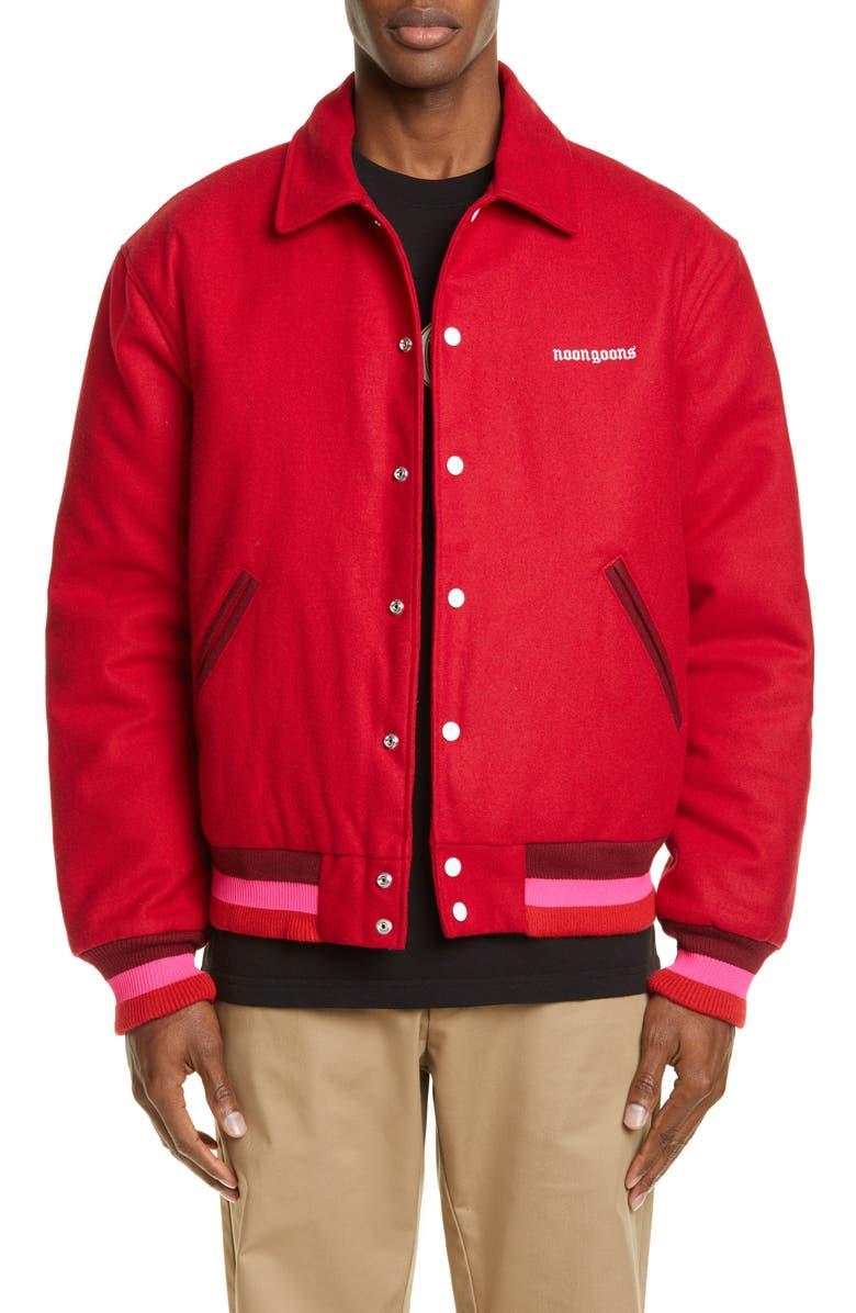 NOON GOONS OE Wool Blend Varsity Jacket, Main, color, RED