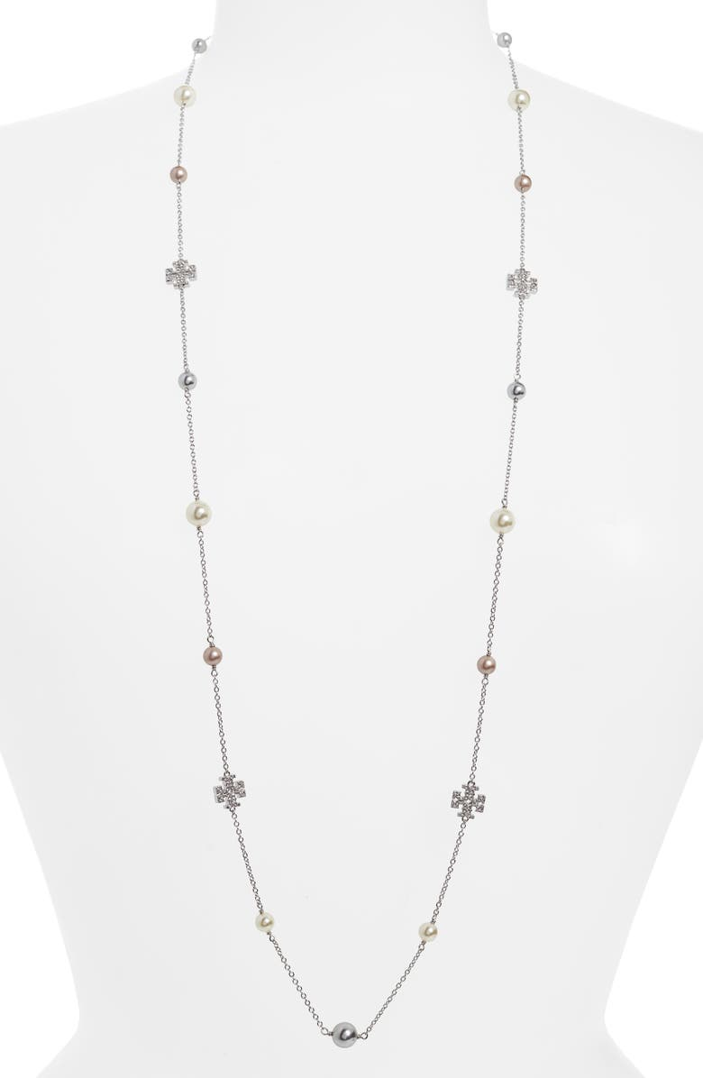 TORY BURCH Kira Rosary Station Necklace, Main, color, TORY SILVER / PEARL
