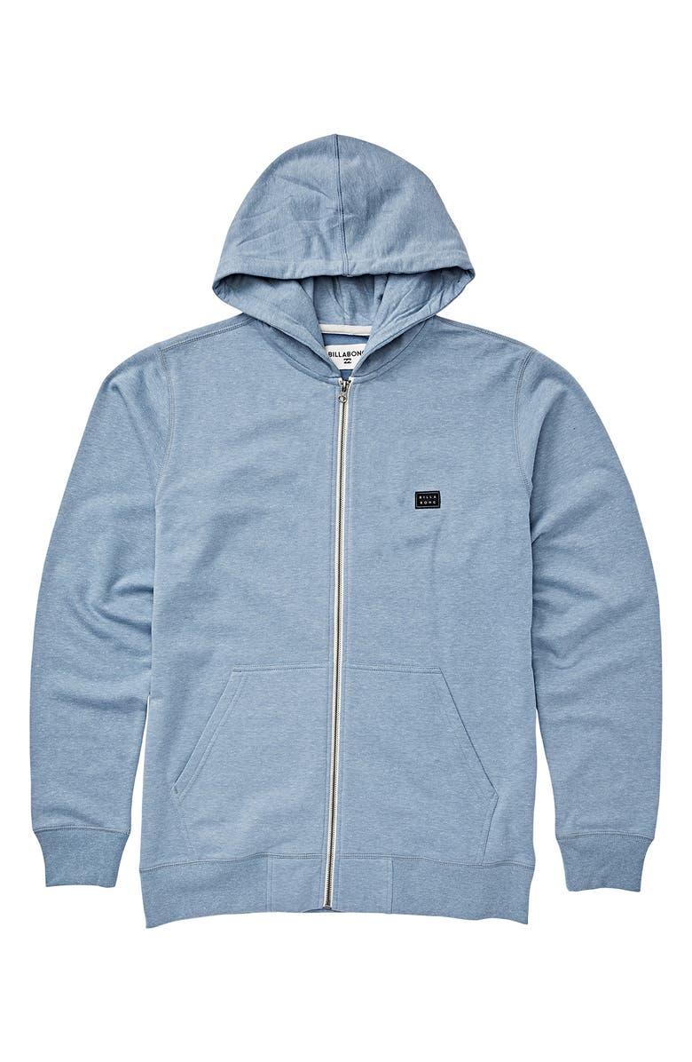 BILLABONG All Day Full Zip Hoodie, Main, color, POWDER BLUE