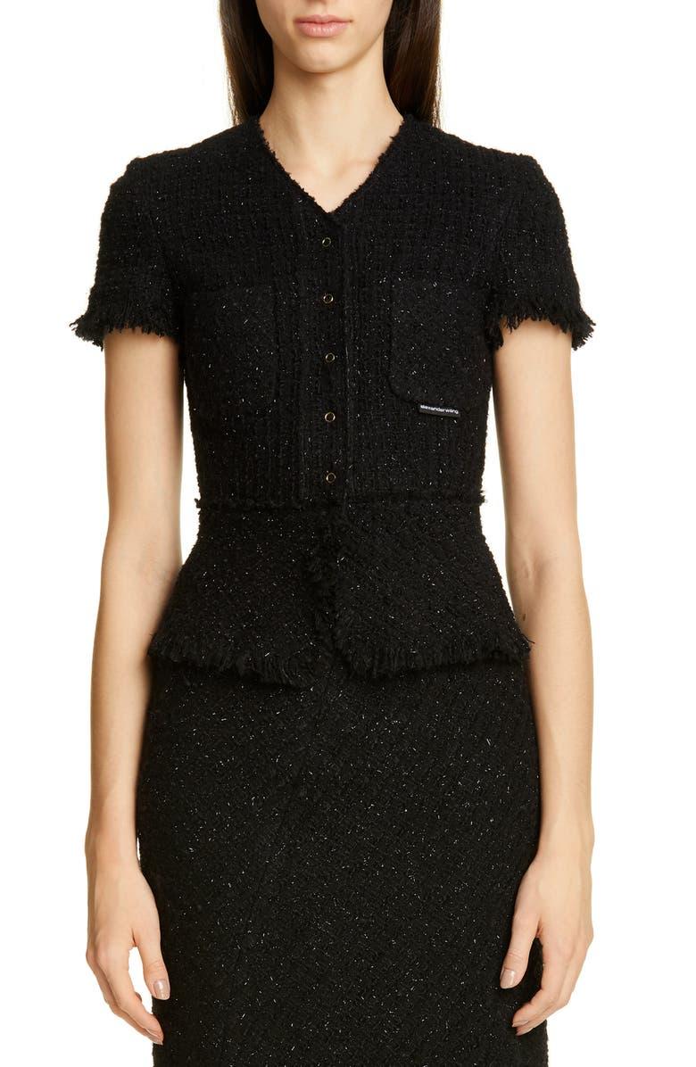 ALEXANDER WANG Metallic Wool Blend Fringe Tweed Jacket, Main, color, BLACK