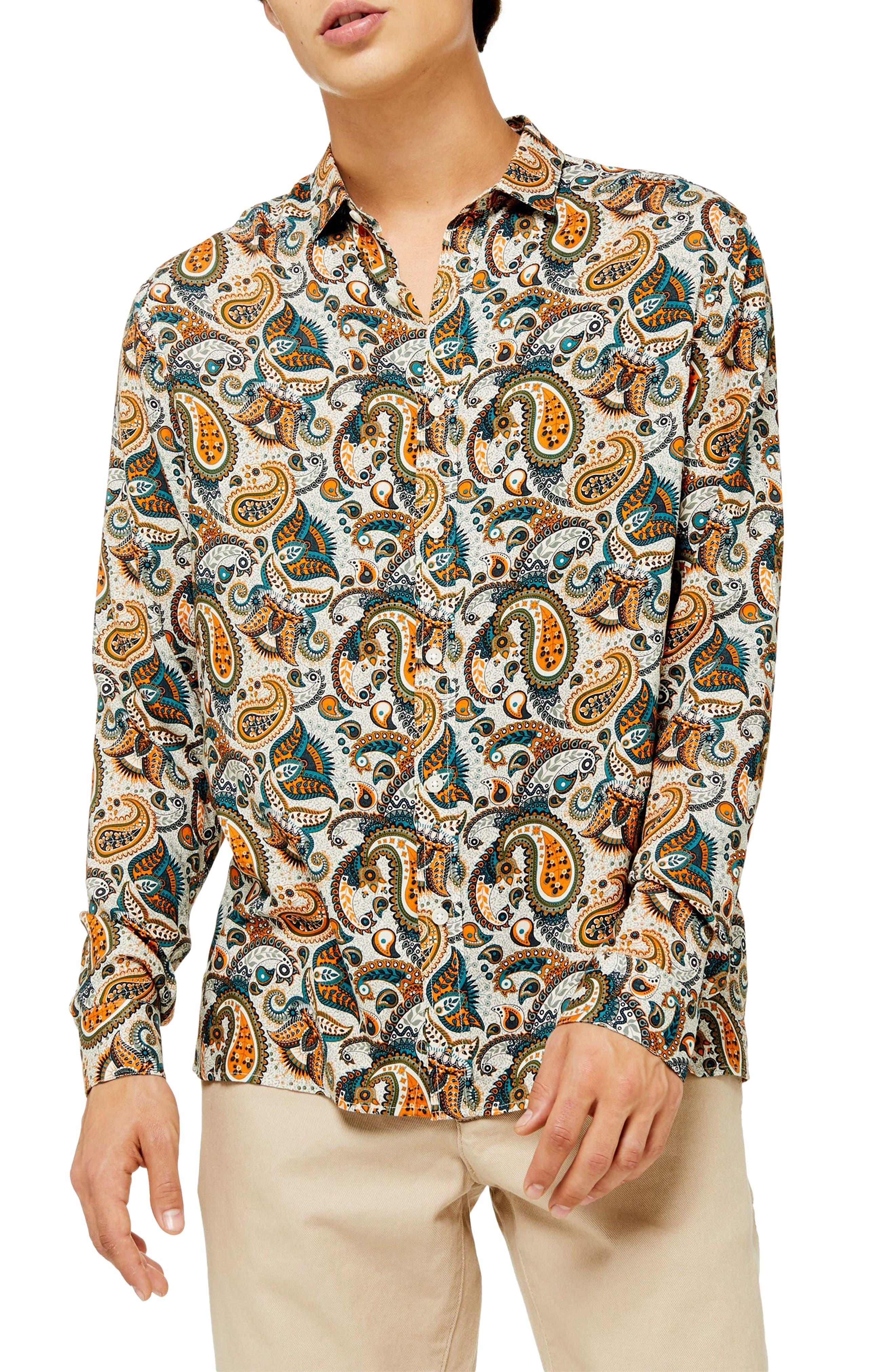 Vintage Shirts – Mens – Retro Shirts Mens Topman Classic Fit Floral Paisley Button-Up Sport Shirt Size X-Small - Green $32.98 AT vintagedancer.com
