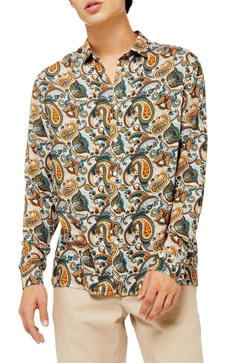 TOPMAN Classic Fit Floral Paisley Button-Up Sport Shirt, Main, color, GREEN MULTI